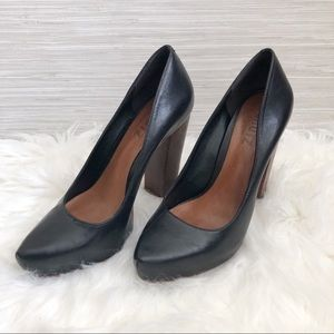 Schutz black Leather block heel pumps size 10